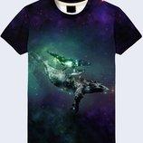 Креативная 3d футболка Киты в космосе