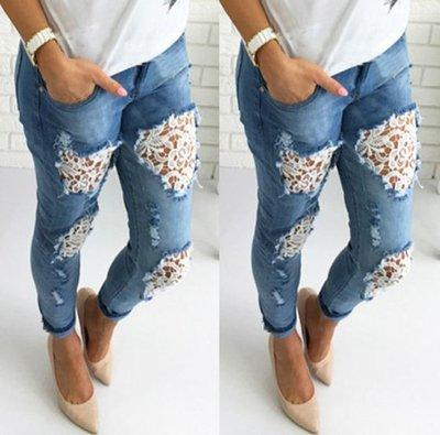 ef88e73a064 джинсы рваные женские кружево Хит бойфренды штаны брюки для женщин ...