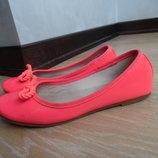 балетки туфли 21 см розовые яркие фирменные сост идеальное Zara Зара
