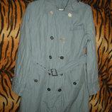 Супер пальто olsen р.48,сжатый коттон голубого цвета