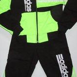 Костюм спортивный зелено-черный, размер 26-28-30 Турция