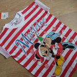 футболка новая 8-9 л девочке детская минни микки маус Disney Дисней полоска красная белая с бирка