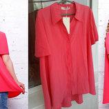 Новая блуза-клеш 56 р. розовая рубашечного покроя с удлинением по спинке.