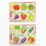 Деревянная рамка досточка с разрезными овощами фруктами и ножом 0448 2 вида в кульке