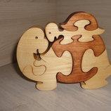 Черепаха с черепашонком. Пазлы из дерева