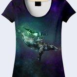 Потрясающая 3d футболка Whales in space