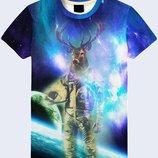Отличная 3d футболка Олень-Астронавт