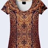 Прекрасная 3d футболка Вышитый орнамент