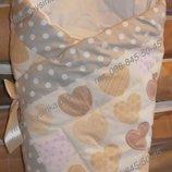 Конверт на выписку Сердечки , одеяло детское, трансформер -весна, осень, зима бязь хлопок 90х90