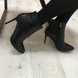 Элегантные кожаные ботинки на каблуке Суперскидка