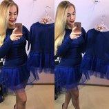 Family Look комплект 2 платья с юбкой фатин мама дочка разные цвета