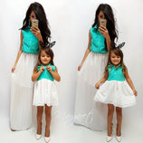 Family Look комплект 2 платья юбка шифон мама дочка