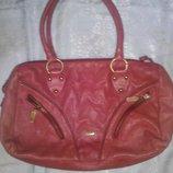 Стильная бордово красная сумка натур кожа Ориано