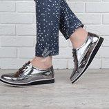 Туфли оксфорды Todzi металлик женские на шнуровке