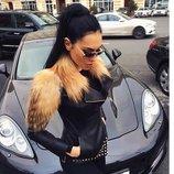 Шикарная куртка косуха из натуральной кожи и натуральным мехом лисы Голден фокс Олеся Малинская