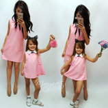 Family Look комплект платьев с воротничком мама дочка цвета