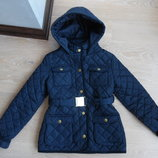 Куртка Девочке 9-10 л Детская синяя весна осень длинная Marks&Spencer прикрывает попу синтипон