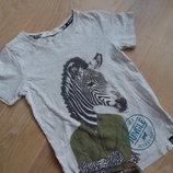 футболка зебра 4-6 л H&M НМ серая