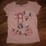 Розовая футболка на 4-5 лет от F&F