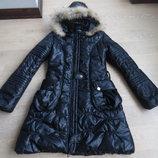 пальто плащ куртка рр S Lumineux черная теплая длинная песец