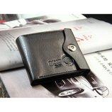 Мужской портмоне PU кожа черный кошелек бумажник