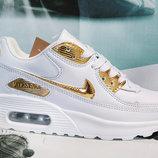 Кроссовки кожа Nike Air Max white gold