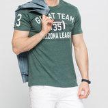 зеленая мужская футболка LC Waikiki с надписью на груди