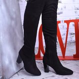 Женские сапоги ботфорты замшевые черные