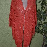 ярко оранжевый вязаный платок