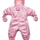 Комбинезон-Трансформер демисезонный для девочки Цветочки розовый