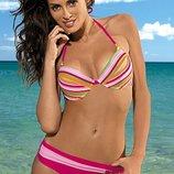 Яркий раздельный купальник Lorena Marko в разноцветную полоску с золотистой нитью