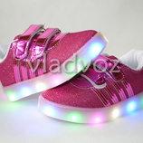 Детские светящиеся кроссовки с led подсветкой для девочки 22р 3119