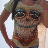 Стильная футболка Модная сова