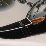 Брендовые туфли - мокасины. Натуральный замш и кожа. Demax.Р-41,42,43,44,45,46