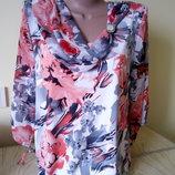 Блуза женская нарядная шифон и вискоза Польша. Туника блузка удлиненная