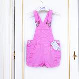 3-5 Джинсовый комбинезон- шорты бахрома рваности Sani бренд 98-110 супер стильно красивый розовый