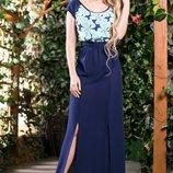 Эффектное двухцветное платье в пол, 622