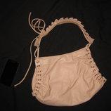 нежно розовая кожаная сумка, натуральная кожа