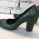 туфли лодочки круглый нос натуральная кожа каблук 6 или 9 см зеленый дракон Разные Цвета