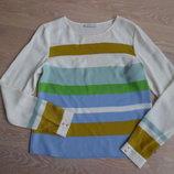 рубашка рр 8 36 сорочка 100 % шелк полоска цветная WHISTLES полоска голубая зеленая желтая