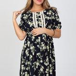 Шикарное длинное платье для беременных и кормления Tamana, жасмин на синем
