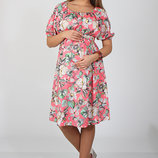 Шикарное летнее платье из штапеля для беременных и кормящих, цветы на коралловом