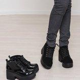 Наложенный Ботинки осень зима платформа натуральная кожа/лак/замша размеры 36-40