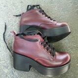 Ботильоны платформа на шнурках натуральная замша/лак/кожа рамеры 36-40