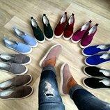 Туфли слипоны итальянская натуральная замша размеры 36-41
