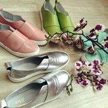 Туфли слипоны натуральная кожа/замша/лак размеры 36-41 розовый, пудра