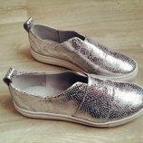 Туфли слипоны натуральная кожа/замша размеры 36-41 серебро, бронза, белый, черный, красный, зеленый,