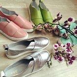 Туфли слипоны натуральная кожа/замша размеры 36-41 серебро, бронза, белый