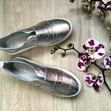 Туфли слипоны натуральная кожа/замша/лак размеры 36-41 золото