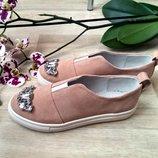 Туфли слипоны с камнями натуральная кожа/замша размеры 36-41